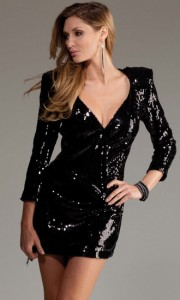 Black Sequin Long Sleeve Dress V-Neck